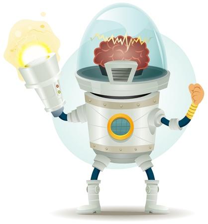 bionico: Illustrazione di un cartone animato divertente supereroe droide scifi o carattere cyborg con impressionante bionico elettrico pistola laser