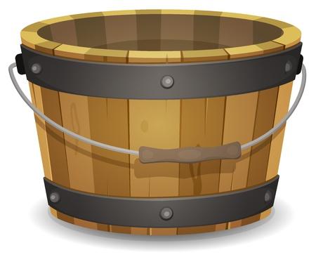 košík: Ilustrace karikatura prázdné venkovské dřevěné vědro s rukojetí a kovovou páskování