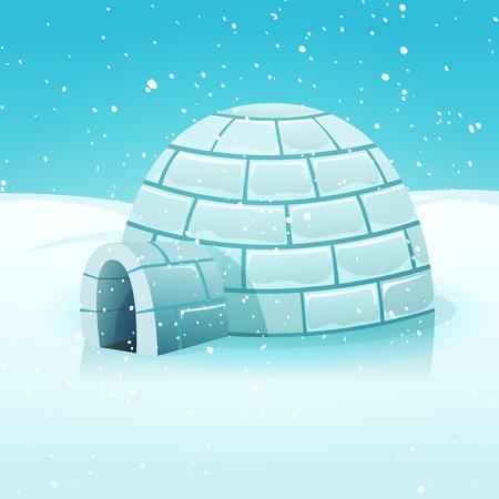 Illustratie van een cartoon eskimo iglo binnen wit besneeuwde polaire winterlandschap Vector Illustratie