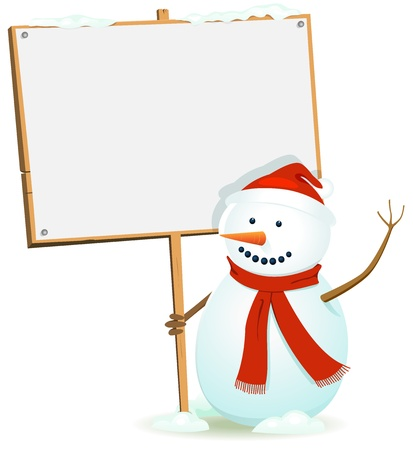 Illustration of a cartoon happy santa claus snowman character holding blank wood sign for christmas or winter holidays advertisement Vector