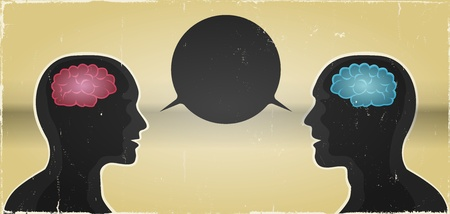 connexion: Illustration of a grunge vintage abstract banner with man and woman meeting, dialog box speech bubble and brains inside silhouettes between them