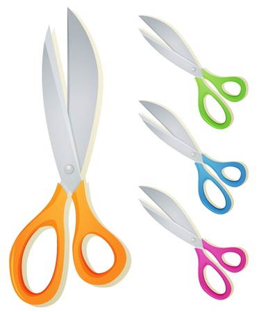 metal cutting: Illustration of a set of fresh cartoon school scissors for cutting paper Illustration