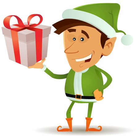 Illustration of a funny happy cartoon christmas elf or leprechaun character smiling and holding santa claus present in his hand Vector