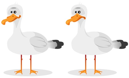 Illustration of a cartoon funny seagull beach bird character, in smiling and neutral emotions Vector
