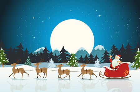 Illustration of a funny cartoon santa claus character driving the christmas sleigh with his reindeer running on the winter snow Vector