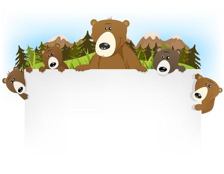 grizzly: Illustration d'un dessin animé famille drôle et mignon brun grizzli avec papa et fils tenant la lettre d'arrière-plan en blanc pour l'histoire des enfants du titre