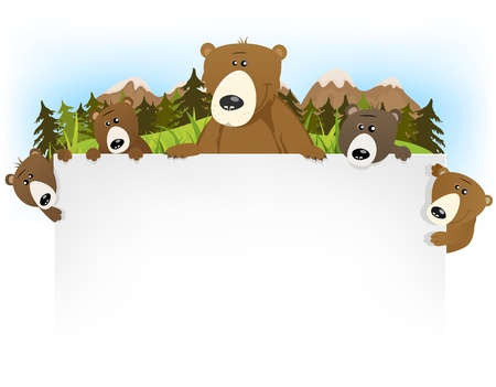 Illustration of a funny and cute cartoon brown grizzly bear family with dad and sons holding blank background letter for children story title Illustration
