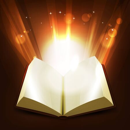 Illustration of an opened book illuminating with light rays and shiny bright magic light rays rising from the pages Vector