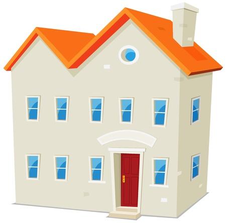edificio escuela: Ilustraci�n de una caricatura edificio p�blico, escuela, ayuntamiento, una f�brica o un museo con la bandera sobre fondo blanco