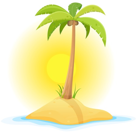 Illustration of a cartoon piece of sand in tropical ocean background with palm tree, coconut, and little desert island beach Illustration