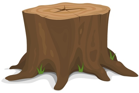 Illustration of a cartoon big tree stump with roots and some blades of grass Vector