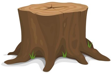 leñador: Ilustración de un tocón de dibujos animados gran árbol con raíces y algunas briznas de hierba