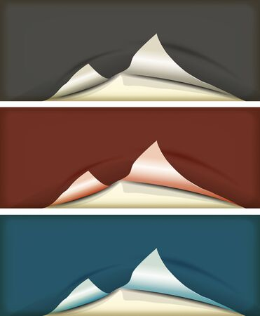 unstuck: Illustration of a set of grey, red and blue torn paper background with shadow Illustration