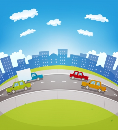 curved road: Illustration of a cartoon urban highway traffic in the city with cars and trucks driving along the road