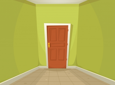 confined: Illustration of a cartoon home or office corridor with ground tiles and a mysterious closed door