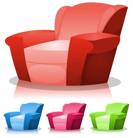 Illustration of a set of cartoon design armchairs in various colors
