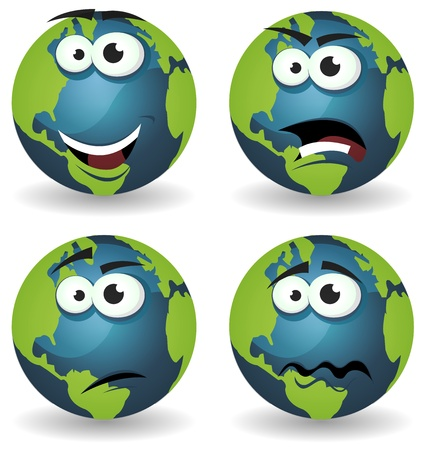 Illustration of a set of various cartoon funny earth symbol icons characters with various emotions, happy, angry, doubtful and sadness