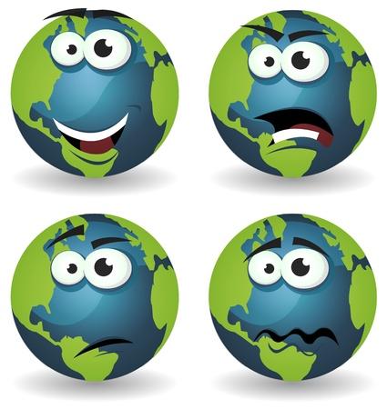 planeta tierra feliz: Ilustración de un conjunto de varios iconos divertidos de la historieta tierra símbolo personajes con diversas emociones, feliz, enojado, dudoso y tristeza