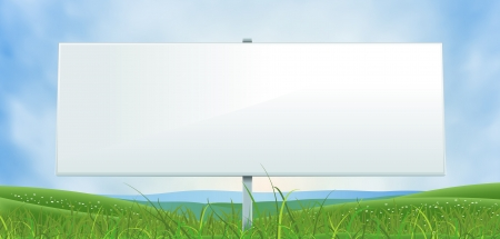 blank billboard: Illustration of an horizontal spring or summer blank large and wide white billboard sign on a country valley landscape background, for nature and season advertisement Illustration