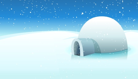 Illustration of a cartoon igloo house inside white icy north pole winter landscape