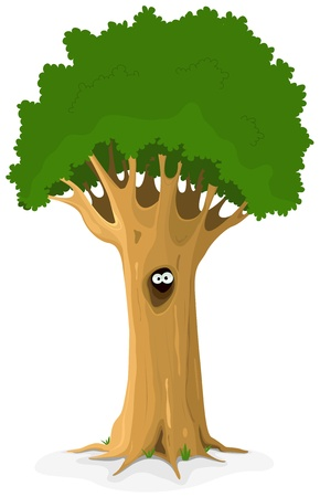 Illustration of a cartoon big oak tree with owl or bird eyes looking from hideaway hollow trunk