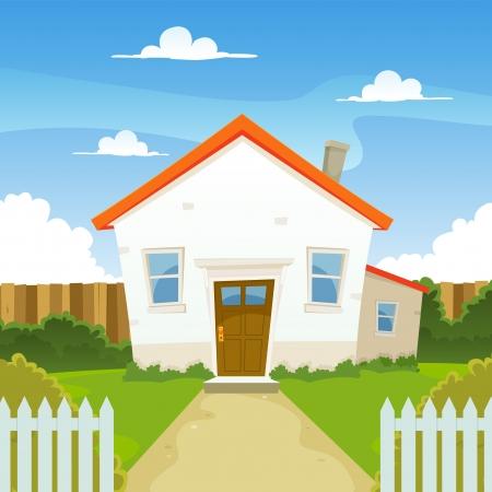 Illustration d'une maison de dessin animé en saison printemps ou en été, avec jardin à l'arrière, d'une clôture et des haies Vecteurs