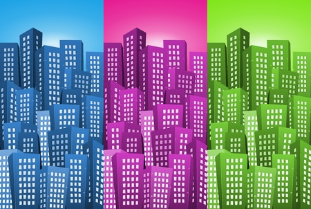 Illustration of a set of cartoon high cityscape backgrounds with blue, pink and green colors Stock Vector - 17150459