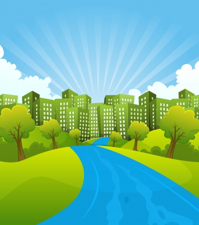 Illustration of a cartoon summer or spring country river going to green cityscape, for environment and ecology background Ilustração