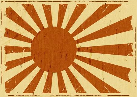 레트로 빈티지 일본 국기 배경 포스터, 떠오르는 태양의 나라에 대한 기호 그림