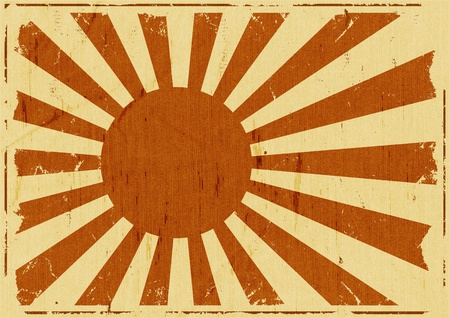 sol naciente: Ilustración de un fondo retro vintage japonés bandera cartel, símbolo del país del sol naciente
