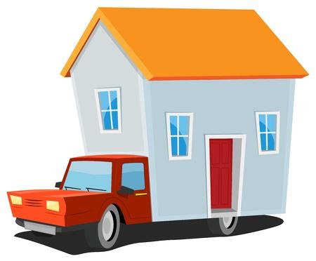 Ilustración de un concepto de dibujos animados de casas móviles con camión que transportaba pequeña casa en el remolque Ilustración de vector
