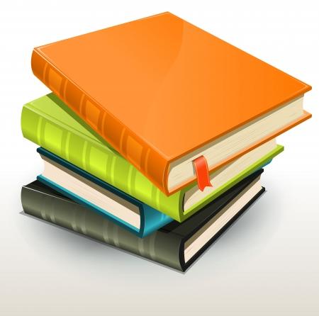 writing book: Illustrazione di una pila di fotografie design elegante o album foto e libri con la pagina segnalibro Vettoriali