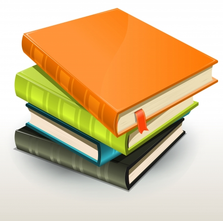 libro: Ilustración de una pila de fotografías diseño elegante o álbumes y libros de fotos con la página de marcador