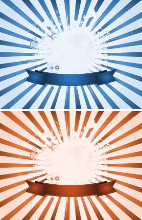 Illustration of a set of red and blue happy holidays background for celebration or party event, with floral shapes and sunbeams Vector