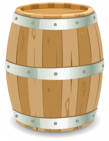 winemaker: Illustration of a cartoon wooden wine barrel with iron strapping and nails for grape harvesting