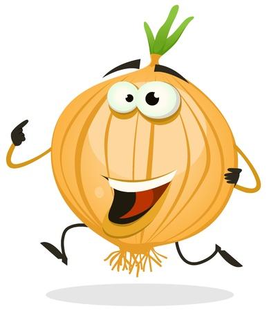 Illustratie van een grappige vrolijke cartoon ui of sjalot plantaardige karakter lopen