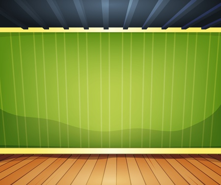 Illustration of a cartoon home interior room or office with wood flooring ground and empty green striped wallpaper behind Vector