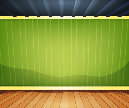 tarima madera: Ilustraci�n de una sala de dibujos animados interior del hogar u oficina con pisos de madera y suelo vac�o wallpaper verde a rayas detr�s