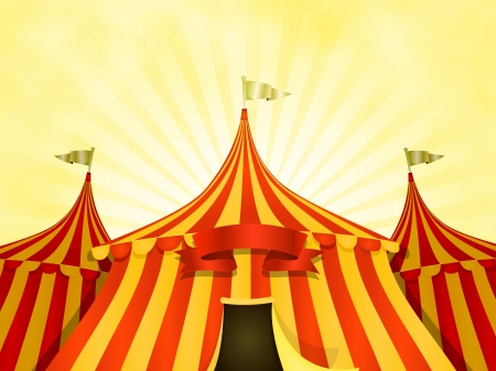 gitana: Ilustración de dibujos animados de color amarillo y rojo grande circo top fondo con tiendas de campaña o carpa bandera en un fondo del cielo de verano