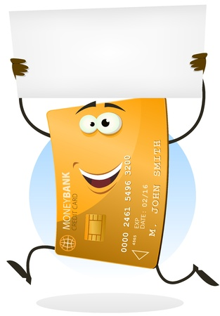 Illustration of a cartoon happy funny golden international business credit card character running and holding a white advertisement sign Stock Vector - 17470730
