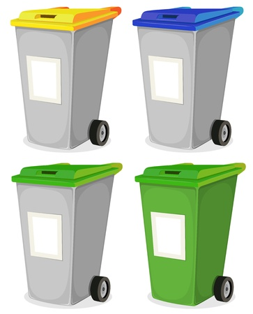 rubbish bin: Illustration of a collection of cartoon recyclable trash bin for household waste sorting, in yellow, blue, and green top, with blank signs for message Illustration