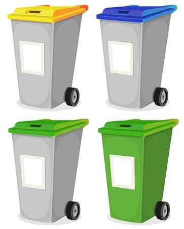 recycle bin: Ilustración de una colección de basura reciclable de dibujos animados para la clasificación de los residuos domésticos, en la parte superior de color amarillo, azul y verde, con signos en blanco para el mensaje
