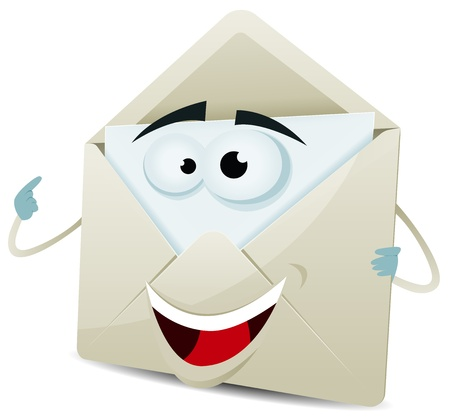 Illustration of a funny cartoon email envelope icon character over white background for your contact and support Illustration