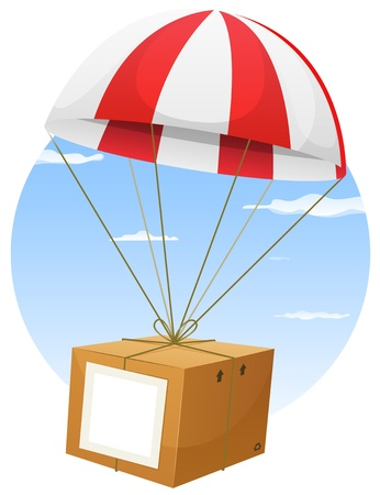 crate: Illustration of a cartoon parachute holding and delivering cardboard box by air shipping, with empty blank sign and sky background Illustration