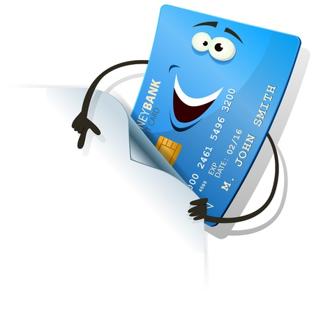 credit card debt: Illustration of a cartoon happy funny blue credit card character showing blank page corner for your retail advertisement