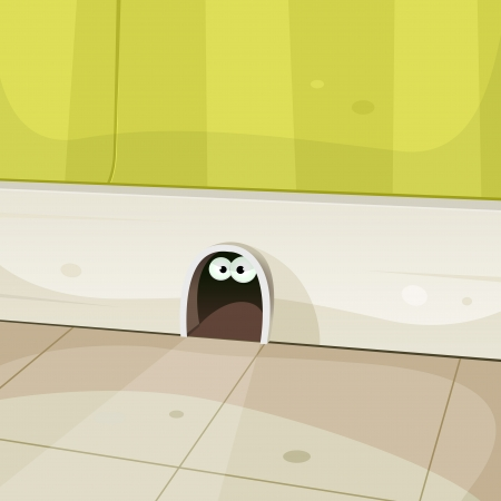 Illustration of a cartoon hole in home walls baseboard with cute mouse or other rodent eyes looking from inside Vector