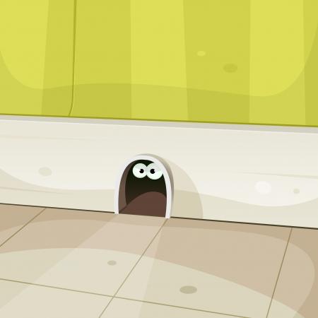 raton caricatura: Ilustración de un agujero de la historieta en casa zócalo paredes con el ratón lindo o otros ojos mirando desde el interior de roedores Vectores