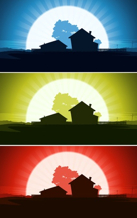 rural community: Illustration of a set of house and farms property in a wild summer desert country landscape with sun or moon rising background Illustration