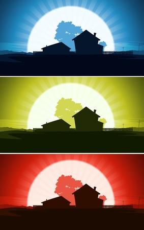 rancho: Ilustración de un conjunto de propiedades y fincas casa en un paisaje campestre verano salvaje desierto con el sol o la luna creciente fondo