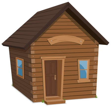 Illustration of a simple cartoon spring or winter wooden little forest lodge, shack house, hut or cabin Illustration
